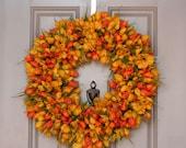 Spring Wreath-  Orange and Yellow Tulip Wreath-  ON SALE