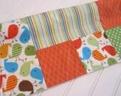 Mini Blanket,Lovey/Birds in Bermuda/Patchwork/Organic Cotton Fleece