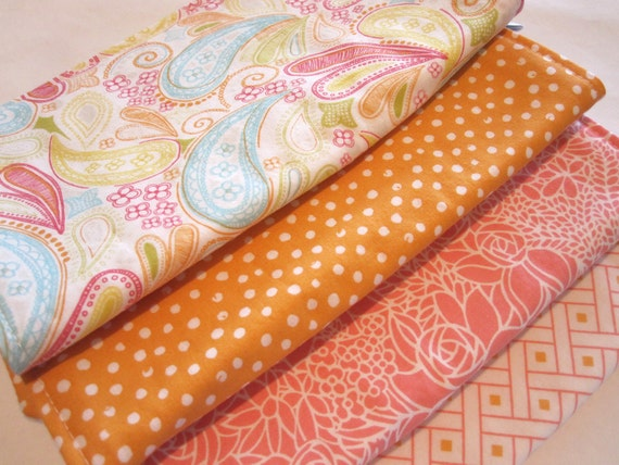 Burp Cloths/Summer Paisley/Double Flannel Backing in White/Set of Four
