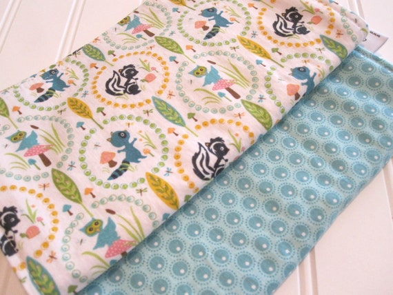 Burp Cloths/Woodland Tails/Double Flannel Backing in Natural/Set of Two