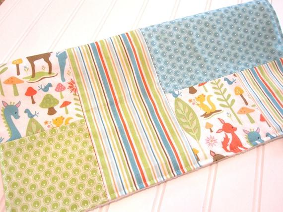 SALE/Mini Blanket,Lovey/Woodland Tails/Patchwork/Organic Cotton Fleece