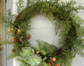 Wreath Decorated with Succulents, Ferns and Thistles