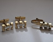Vintage Cuff Links and Tie Clip Set Collection Gold and White Mens Fashion Vintage Retro Style