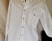 Vintage IZOD Oxford Shirt/ Men's Oxford Shirt Medium/ White w/Purple Stripes Button Up L/S Shirt