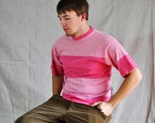 Vintage Dockers T-shirt. Men's Pink Striped Tee From Levi Dockers, Medium/ Eveteam