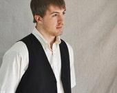 Black Vest.   Men's Vintage Black Button Up Vest Medium