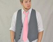 Small Pinstripe Vest. Vintage Suit Vest Gray Pintstripe Small / Medium