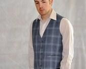 Blue Plaid Vest. Vintage Big Blue Plaid Waistcoat. Solid Back. Men's Woman's Unisex Med-Large. Eveteam