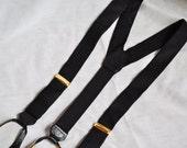 Mens Vintage Suspenders. Black Silk Button On Suspenders. Eveteam