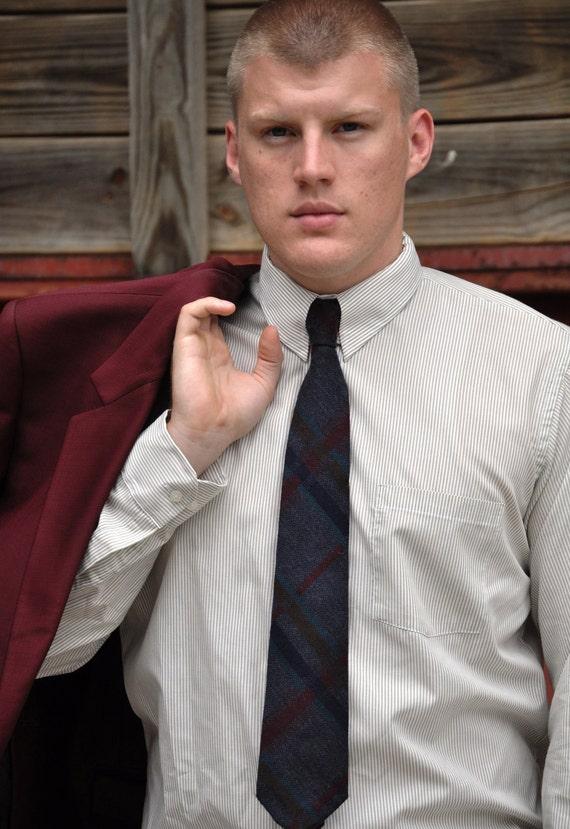 Cashmere Necktie in Neutral Gray Blue Big Plaid-Vintage tie