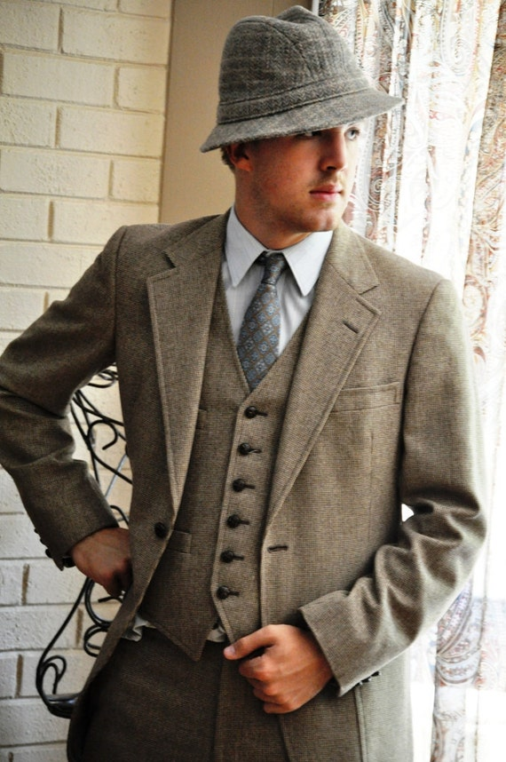 Suit 36 38l Handsome Vintage Hart Schaffner Amp Marx Tweed