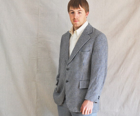 Vintage Men's Jacket. 44R Saks Fifth Ave Blue Black Houndstooth Mod Wool SportCoat . Eveteam