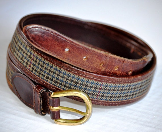Vintage Leather Belt. Plaid & Brown Leather Belt - 34. Eveteam