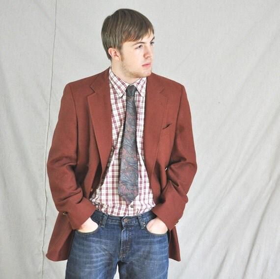 Russet Brown Blazer 44L. Vintage Austin Reed Designer Jacket in Rust /Eveteam