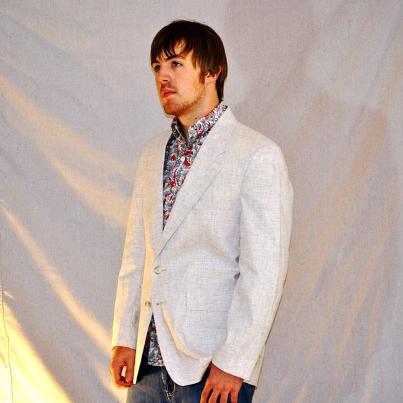 Men's White Blazer. Vintage Levi Strauss Heathered White Sport Coat 40R