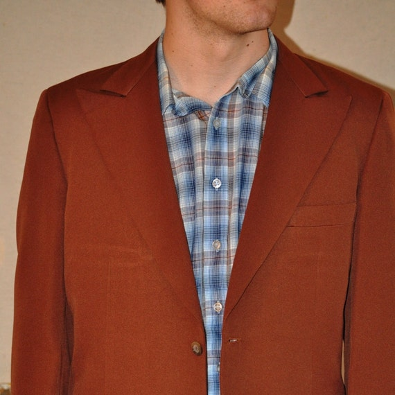 Mens Sport Coat. Vintage Jacket in Really Retro Russet  70's /  Size 42. Eveteam