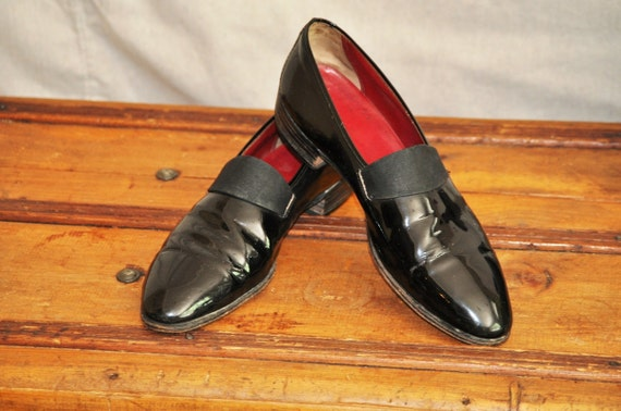 1940's Men's Shoes Vintage Slip-On Tuxedo Black-Tie Shoe Size 9D / eveteam