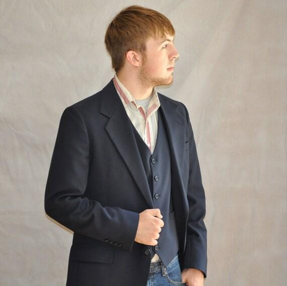 Mens Jacket Vest Set. Vintage Navy Wool 2-Piece Suit 40L From Kuppenheimer. Eveteam