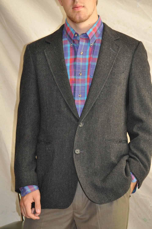 Tweed sport coat 40r men s charcoal black by armorofmodernmen