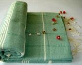 Handwoven Turkish Bath Towel: Peshtemal, Light and Thin Bath, Beach, Spa Towel, Natural Soft Cotton, light green