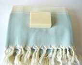 Elegant Turkish Towel, Kilim Peshtemal, Natural Soft Cotton Bath, Spa,  Beach Towel, Light Blue