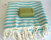 Traditional Turkish Bath Towel: Peshtemal, Light and Thin Bath, Beach, Spa Towel, Sarong, Paroe, Aqua Striped