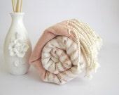 Turkish Bath and Beach Towel: Handwoven Turkish Peshtemal, Light and Thin Bath, Beach, Spa, Yoga Towel, Coral