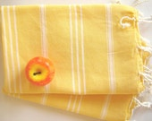 Set of 2 Turkish Hand Towel, Head Towel (Peshkir), Tea Towel,  Yellow