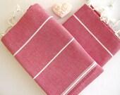 Set of 2 Turkish Hand Towel, Head Towel (Peshkir), Baby towel, Tea Towel, Red, Mom Gift, mother's day