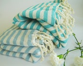 SALE Set of 2 Turkish Towel, Peshtemal, Beach towel, Bath towel, hammam, Spa, Yoga, natural cotton, Gift, aqua and baby blue, mother's day