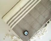 Men Gift Turkish Towel home-garden / bath-beauty Peshtemal , Natural Soft Cotton Beach, for him, men, man, dads, gray, grey, mother's day