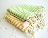 Turkish Beach Towel, Natural Peshtemal, Bath and Beauty, Beach, Hammam, Spa Towel, Gift Set, Yellow and Green,, , mom, mother's day