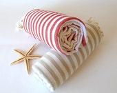 SALE, Turkish Towel, Peshtemal, Bath, Beach towel, Hammam towel, Spa Towel, Set of 2 towels, Light Brown and Red, mom, mother's day