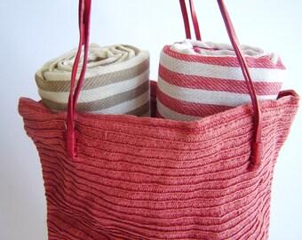 SALE, Turkish Towel, Set of 2 Peshtemal, Bath towel,Hammam, Beach Towel , Fouta Towel, Bath and Body, Spa, wedding gift, Light Brown and Red