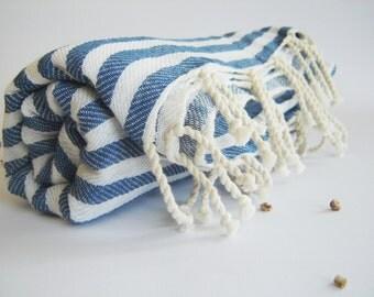 Traditional Turkish Towel: Peshtemal, Light and Thin Bath, Beach, Spa Towel, Blue Striped