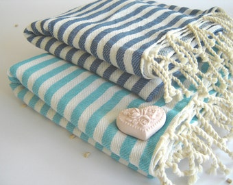 Mother's day gift,  2 Turkish Towels, Handwoven Peshtemal, for her, Aqua and Blue, Christmas  gift, homedecor, Bluemother's day