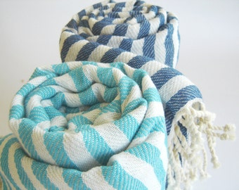 Turkish Bath and Beach Towel: Peshtemal, Light and Thin Bath, Beach, Spa Towel, Sarong, Paroe, Aqua Striped