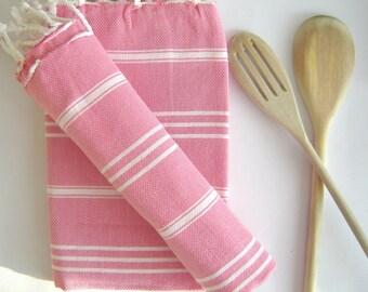 Set of 2 Turkish Hand Towel, Head Towel (Peshkir), Tea Towel,  Pink