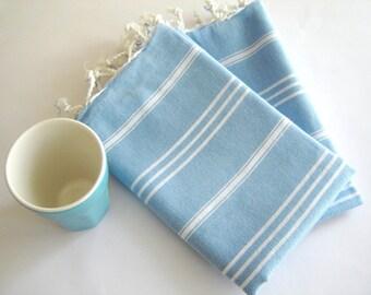 Set of 2 Turkish Hand Towel, Head Towel (Peshkir), Tea Towel,  Kitchen towel, organic, elegant gift for Moms, fouta towel, soft, Blue
