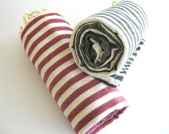 SALE Set of 2 Turkish Bath Towel: Peshtemal,  Bath, Beach, Spa Towel, Red and Black, mom, bridesmaid, mother's day gift