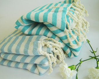 SALE Set of 2 Turkish Towel, Peshtemal, Beach towel, Bath towel, hammam,  Yoga, natural cotton, Gift, aqua and baby blue, mother's day gift