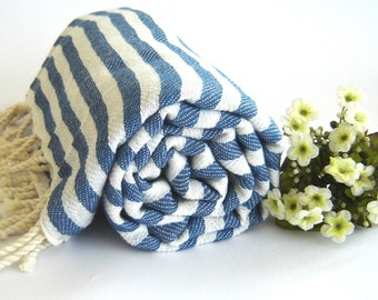 Traditional Turkish Towel: Peshtemal,  Bath, Beach, Spa Towel, Blue Striped,, mother's day, mommother's day, mother's day