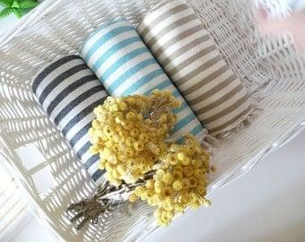 Fast Shipment, Wedding Gift Set of 3 Turkish Towel, Peshtemal, Beach , Bride, Bachelorette Party, aqua, black, light brown, Christmas gift