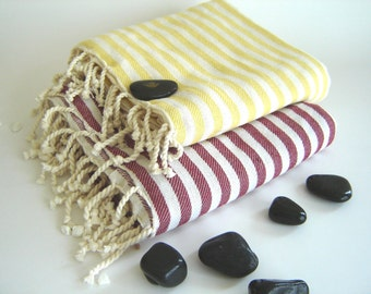 SALE Set of 2 Turkish Bath Towel: Handwoven Peshtemal, Bath, Beach, Spa Towel, Red and Yellow