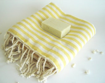 Turkish Bath Towel: Handwoven Peshtemal, Bath, Beach, Spa Towel, Yellow, summer coverups, bridesmaid, mother's day