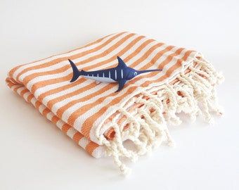 Eco friendly Natural Turkish Towel, Peshtemal, beach towel, bath towel, pareo, fouta towel, yoga, Spa, orange color, gift, Mothers Day gift