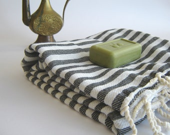 Turkish Towel, peshtemal, Beach towel, bath towel, hammam towel, Spa Towel, yoga, Black Striped, beach fashion, girlfriend boyfriend gift