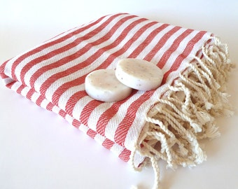 Turkish Bath Towel: Peshtemal,  Bath, Beach, Spa, Wellness Towel, Bridesmaids Gift, Red, mom, summer coverups, bridesmaid, mother's day