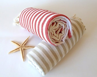 SALE Set of 2 Turkish Towel, Peshtemal, Bath towel, Beach towel, Hammam towel, Spa Towel, yoga, Light Brown and Red