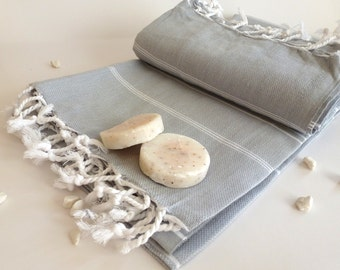 Bath Set of Turkish towel Peshtemal and Peshkir, Pure Natural Turkish Cotton, spa, yoga, Gray / Grey with white stripes